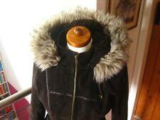 Ladies NEXT brown suede leather JACKET hoody UK 10 8 faux fur sheepskin sherpa