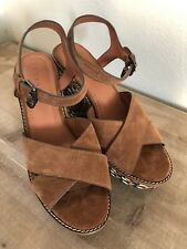 Coach Women's Cross Band High Wedge Sandal Suede Brown Multi Size 9.5