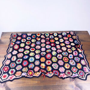 Vtg Granny Square Afghan Crochet Throw Blanket Black Multicolored Small *Flaw*