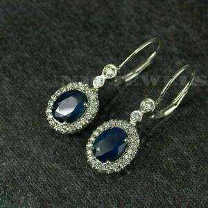 14K White Gold Finish 4Ct Oval Cut Blue Sapphire Diamond Drop & Dangle Earrings