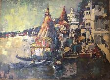 SHENVI Laxman V 1920-2012 Boots and Houses in a Indian Harbour Neo-Impressionist