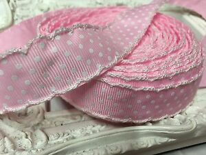 1 Metre Baby Pink Spotty Scalloped Grosgrain Ribbon 22mm Cakes Bow Dummy