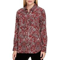 TOMMY HILFIGER NEW Women's High-low Roll-Tab Sleeve Button Down Shirt Top TEDO