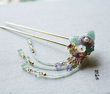 High Quality Chinese Classical Ladies Hairpin Step Shake Natural Amethyst Flower