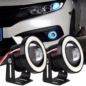 "2.5"" Car COB LED Fog Light Projector + Ice Blue Halo Angel Eyes Ring DRL Bulb"