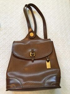 Vtg Dooney & Bourke Cabriolet Tan W/ Perforated Dots Leather Backpack RARE