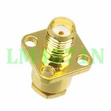 1pc Connector SMA female jack 4-hole 12.7mm flange clamp RG58 RG142 LMR195 RG400