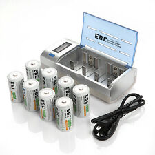 8x 10000mah D Size NI-MH Rechargeable Battery + AA AAA C 9V LCD Battery Charger