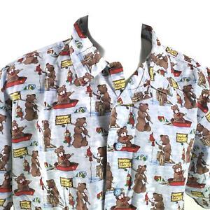 Bear Fishing Print Bearfoot Fishin' 2XL Pajama Top