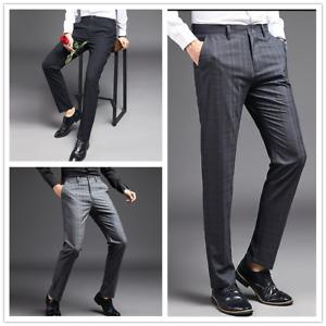 Hommes Carreaux Pantalon Habillé Bureau Affaires Costumes Droit Jambe Fin