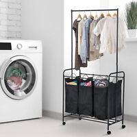 34 Quot L 3 Bag Rolling Laundry Hamper Sorter Cart Clothes