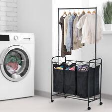 "33""L 3-bag  Rolling Laundry Hamper Sorter Cart Clothes Organizer w/ Hanging Bar"