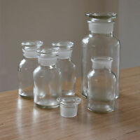 Apothecary bottle, Vintage Glass Bottle, Rustic Bottle with Glass Stopper