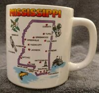 MINT STATE OF MISSISSIPPI CITIES COLLECTIBLE CERAMIC MUG CUP FLOWER BIRD