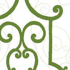 Wallpaper Designer Iron Gate Green Trellis w/ Silver Accents on Eggshell White