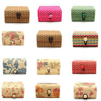 Creative Useful Bamboo Square Wooden Jewelry Storage Box Coin Depository Box
