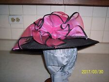 """LADIES HOT PINK AND GRAY HAT W/ LARGE FLOWER BOW BY AUGUST ACC. 22 1/2"""" CIR."""