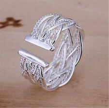 New Women Fashion Silver Open Staggered Stainless Steel Weeding Party Band Ring