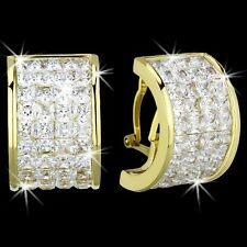 PRINCESS Cut INVISIBLE Set CZ Gold Stainless Steel BLING Hoop Dangle Earrings