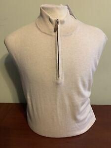 NWT Alashan Douglas Anthony Men's L or XL 1/4 Zip Cotton Cashmere Birch Sweater
