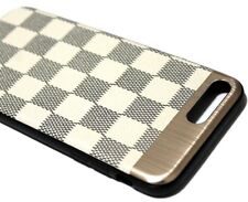 For iPhone 7+ / 8+ PLUS - Beige Checker Magnetic Back Hybrid Rubber Case Cover