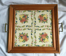 More details for vintage wooden serving tray inset with fruit ceramic tiles and brass handles