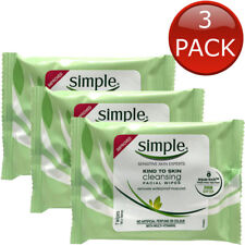 3 x SIMPLE KIND TO SKIN CLEANSING FACIAL WIPES 7 PACK FACE MAKEUP REMOVER GENTLE