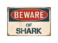 "Warning Beware Of Shark Aluminum Rustic Retro Metal Sign 8"" x 12"""