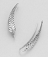 """1.2"""" Solid Sterling Silver Etched Leaf Ear Cuff Climber Hook CRAWLER Earrings 1g"""