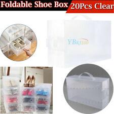 20X Transparent Plastic Shoe Storage Box Foldable Stackable Boxes Lot Holder