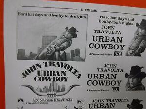 URBAN COWBOY Movie Mini Ad Sheet Vintage Advertising Poster Film John Travolta