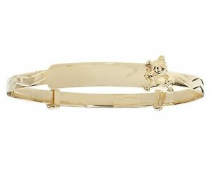9ct Gold Baby Solid Personalised Christening Teddy Bear Expandable ID Bangle