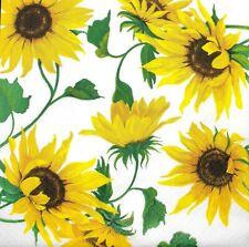3x Single Paper Napkins For Decoupage Craft Tissue Yellow Sunflower Flowers N073