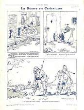 Caricature Guerre Légion Etrangère Poilus Tranchée Soldiers Gas Mask 1916 WWI