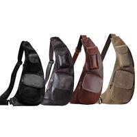 Men's Genuine Leather Small Backpack Sling Chest Cross Body Shoulder Bag Sports