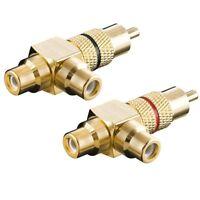 Y Audio Chinch Cinc RCA L-R Adapter 2x Cinch Buchse Kupplung auf 1x Stecker