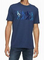 Calvin Klein Mens T-Shirt Blue Size XL Monogram Logo Print Graphic Tee $39 145