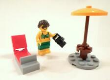 Lego City Beach Mini Figure Girl Camera Lounge chair Table Umbrella Fun at Beach