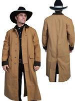 New Men's Scully Rangewear  Long Canvas Duster Western Cowboy Brown