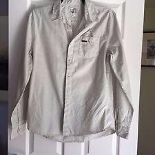 Mens Firetrap Long Sleeved Shirt. Pinstripe cream & grey Size L