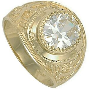 Solid Gold College Ring Graduation University Men's Clear Stone Heavy Hallmarked