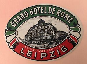 1900s Luggage Label Grand Hotel de Rome. Leipzig - Germany