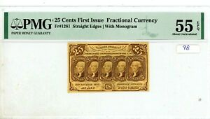 25C UNITED STATES FRACTIONAL CURRENCY FIRST ISSUE FR.1281 PMG AU 55 EPQ #98