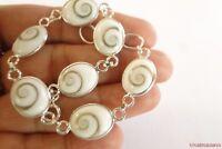 Oval Shiva Eye Seashell Sea Shell 925 Sterling Silver Link Bracelet