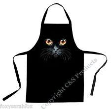 Cats Eyes | Amber Print | Black | Cotton Drill Bib Apron | Chef | Gift