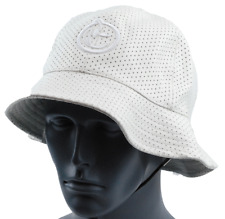 YUMS White Perforated Jersey Mesh Poly Leather Bucket Style Fishing Cap Hat