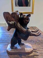 RARE ORIGINAL BLACK FOREST BEAR CARVED WOOD TANTALUS MASTERPIECE