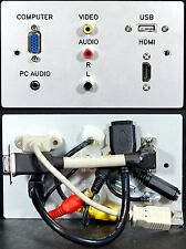 AV TV Metal Wall Plate, VGA HDMI Audio Jack USB2 A & 3 Phono sockets with tails