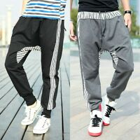 Men's Casual Harem Baggy Hip Hop Dance Striped Sweatpants Sport Pants Trousers