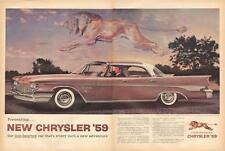 1959 Chrysler New Yorker PRINT AD Rare 2pg 4-dr Hardtop Great Lion Image in sky
